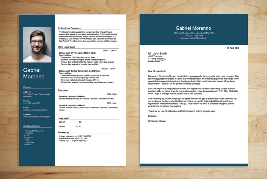 CV set and cover letter