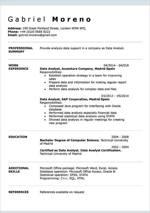 English CV Examples DOC Template & Online Creator
