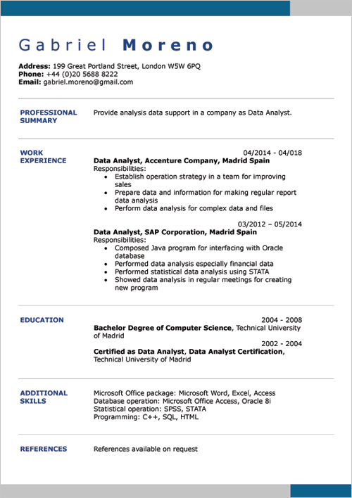 English CV Examples DOC Template Online Creator