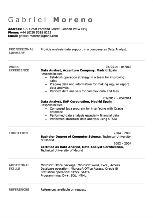 english cv examples doc template  u0026 online creator